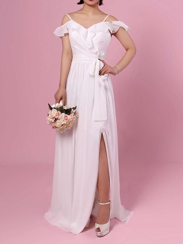 Chiffon A-line V-neck Floor-length Sashes / Ribbons Bridesmaid Dresses #JCD01013537
