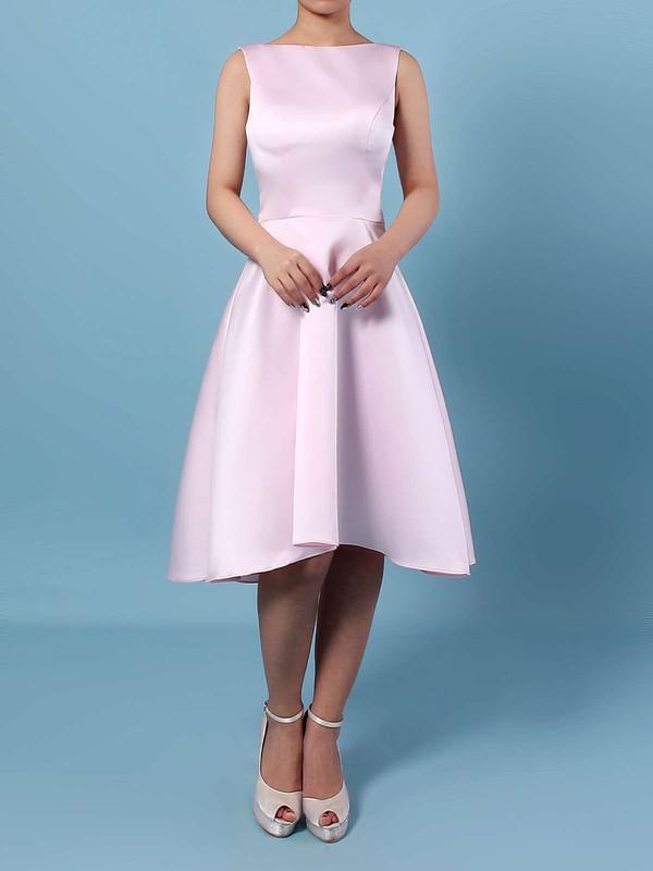 Satin Chiffon A-line Scoop Neck Asymmetrical Bridesmaid Dresses #JCD01013542
