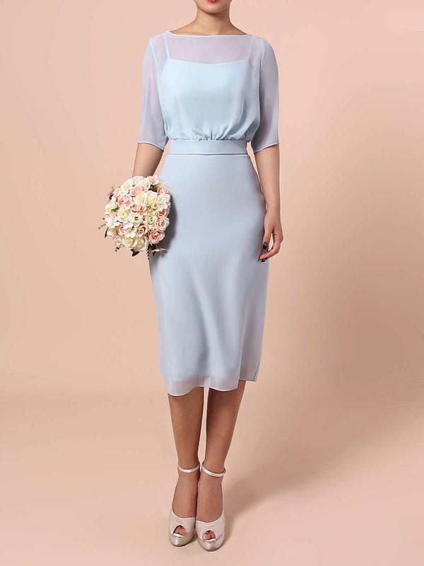 Chiffon Sheath/Column Scoop Neck Knee-length Sashes / Ribbons Bridesmaid Dresses #JCD01013551