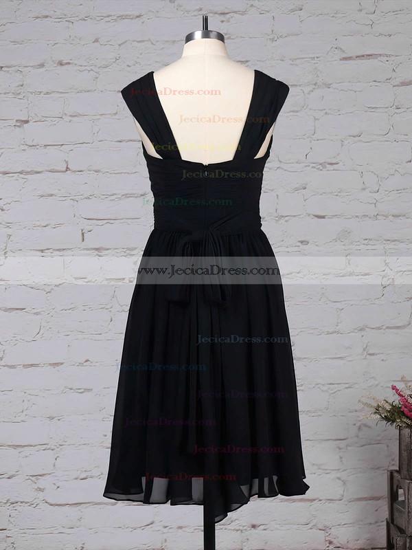 Chiffon A-line V-neck Knee-length Sashes / Ribbons Bridesmaid Dresses #JCD01013572