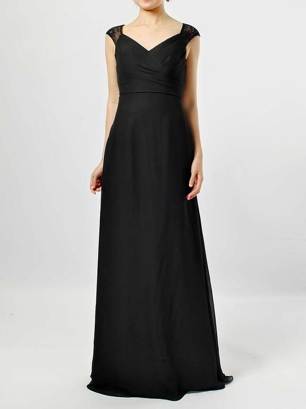 Lace Chiffon Empire V-neck Floor-length Ruffles Bridesmaid Dresses #JCD01013582