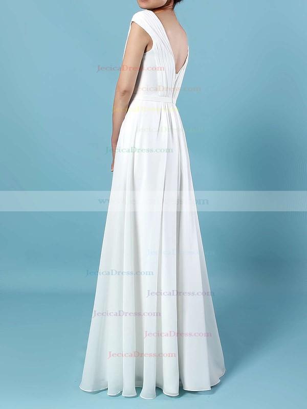 Chiffon A-line V-neck Floor-length Ruffles Bridesmaid Dresses #JCD01013587