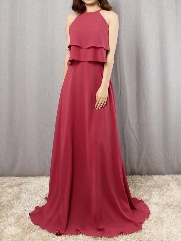 Chiffon A-line Scoop Neck Floor-length Cascading Ruffles Bridesmaid Dresses #JCD01013595