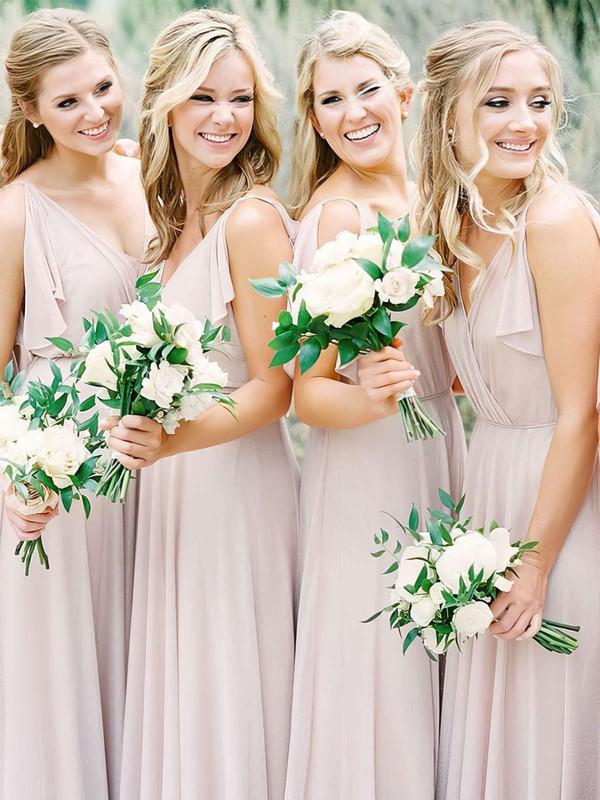 Chiffon A-line V-neck Floor-length Bridesmaid Dresses #JCD01013673