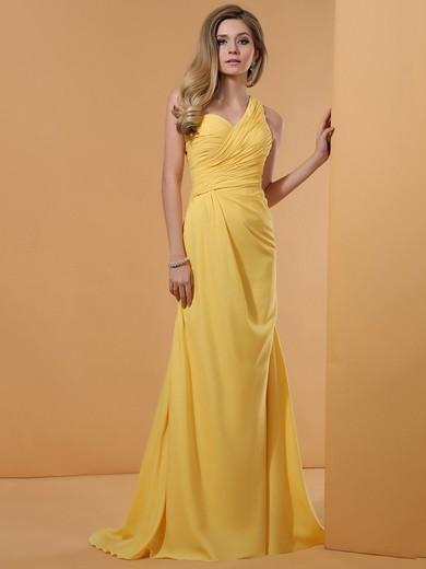 Nicest Sheath/Column Yellow Chiffon Crystal Detailing One Shoulder Prom Dresses #JCD02023191