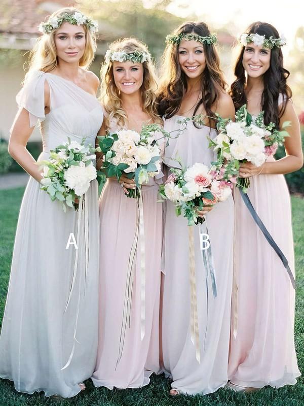 Chiffon A-line One Shoulder Floor-length Ruffles Bridesmaid Dresses #JCD01013691