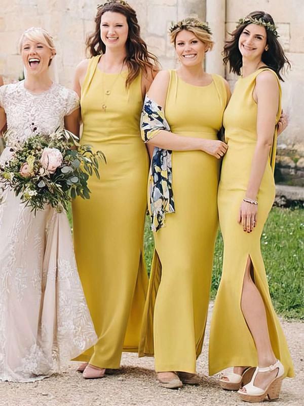 Silk-like Satin Sheath/Column Scoop Neck Ankle-length Split Front Bridesmaid Dresses #JCD01013696
