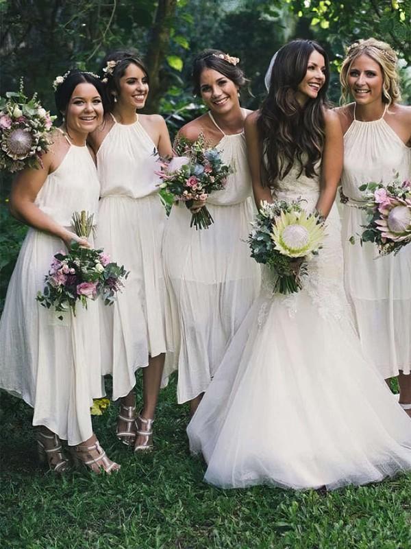 Chiffon A-line Halter Tea-length Bridesmaid Dresses #JCD01013711