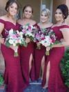 Lace Trumpet/Mermaid Off-the-shoulder Sweep Train Split Front Bridesmaid Dresses #JCD01013715