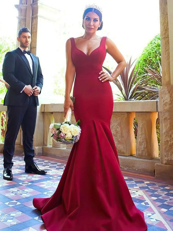 Silk-like Satin Trumpet/Mermaid V-neck Sweep Train Bridesmaid Dresses #JCD01013716