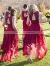 Chiffon A-line V-neck Floor-length Lace Bridesmaid Dresses #JCD01013718