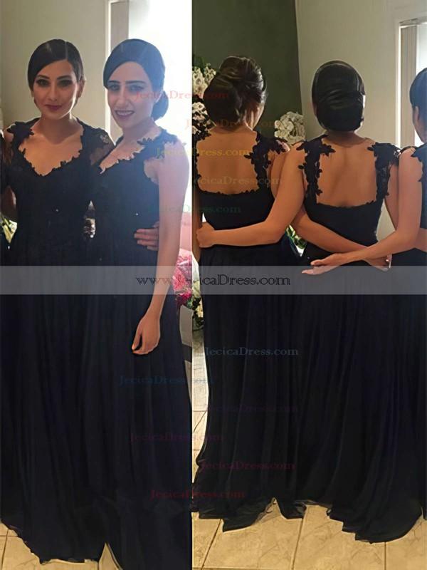 Chiffon A-line V-neck Floor-length Appliques Lace Bridesmaid Dresses #JCD01013719
