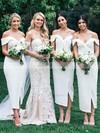 Silk-like Satin Sheath/Column Off-the-shoulder Tea-length Split Front Bridesmaid Dresses #JCD01013720