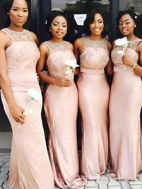 Silk-like Satin Sheath/Column Scoop Neck Sweep Train Lace Bridesmaid Dresses #JCD01013722