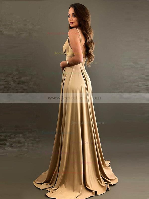 Silk-like Satin A-line V-neck Sweep Train Split Front Bridesmaid Dresses #JCD01013597