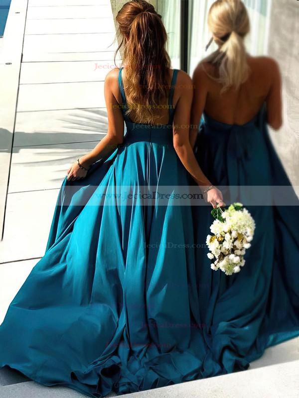 Silk-like Satin A-line V-neck Sweep Train Split Front Bridesmaid Dresses #JCD01013598