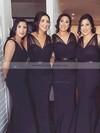 Tulle Silk-like Satin Trumpet/Mermaid V-neck Sweep Train Sashes / Ribbons Bridesmaid Dresses #JCD01013603