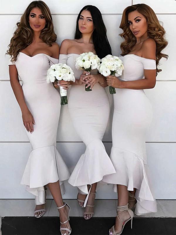 Silk-like Satin Trumpet/Mermaid Off-the-shoulder Asymmetrical Bridesmaid Dresses #JCD01013606