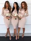 Satin Sheath/Column Off-the-shoulder Knee-length Lace Bridesmaid Dresses #JCD01013608