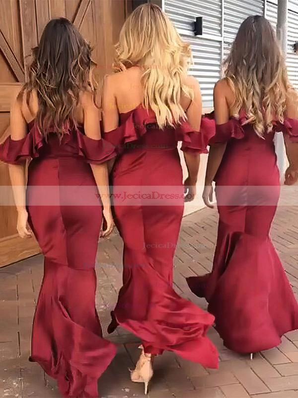 Silk-like Satin Trumpet/Mermaid V-neck Asymmetrical Ruffles Bridesmaid Dresses #JCD01013609
