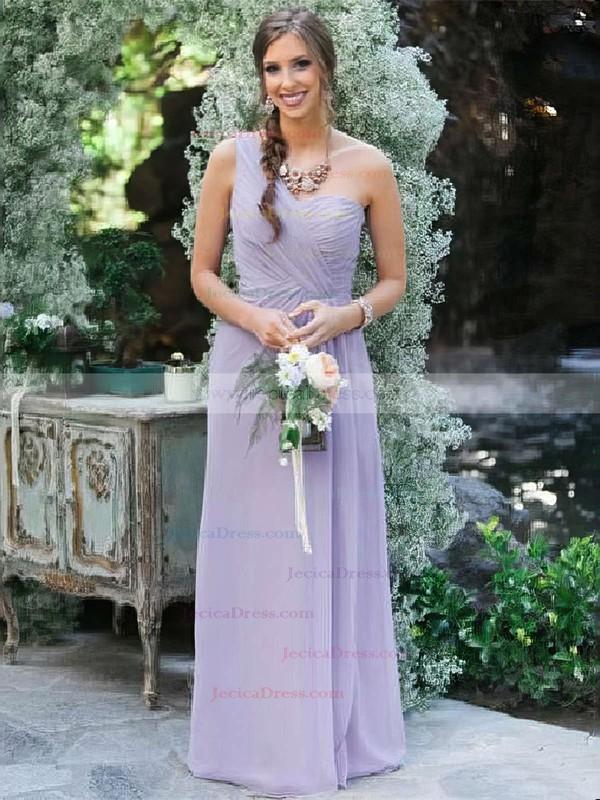Chiffon A-line One Shoulder Floor-length Ruffles Bridesmaid Dresses #JCD01013618