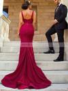Satin Trumpet/Mermaid V-neck Sweep Train Split Front Bridesmaid Dresses #JCD01013624