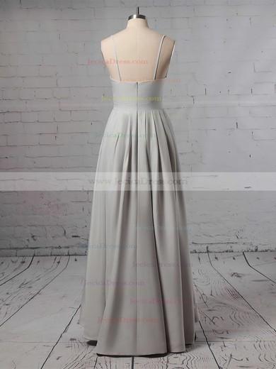 Satin A-line V-neck Asymmetrical Split Front Bridesmaid Dresses #JCD01013627