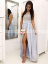 Tulle Chiffon A-line Scoop Neck Floor-length Appliques Lace Bridesmaid Dresses #JCD01013628