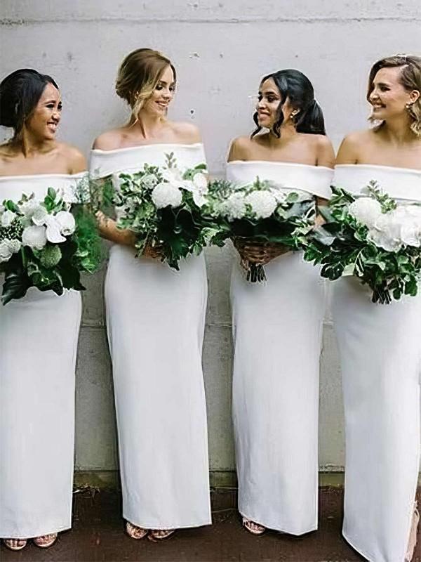 Silk-like Satin Sheath/Column Off-the-shoulder Ankle-length Bridesmaid Dresses #JCD01013632