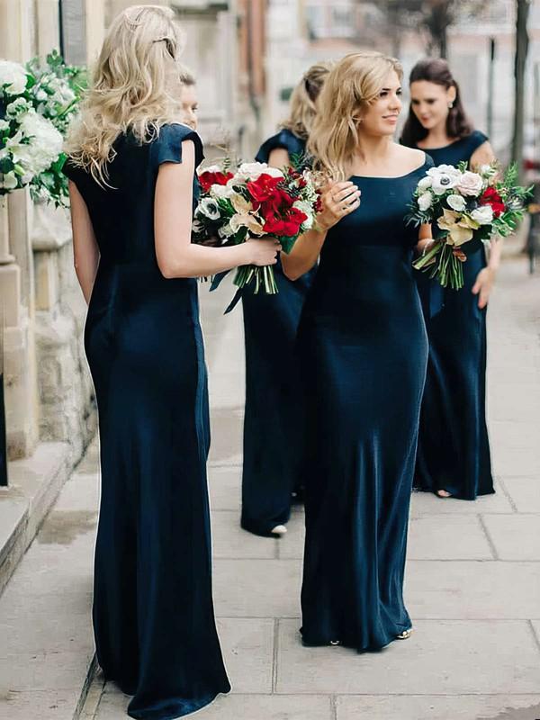 Silk-like Satin Sheath/Column Square Neckline Floor-length Bridesmaid Dresses #JCD01013634
