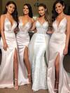 Satin Trumpet/Mermaid V-neck Sweep Train Split Front Bridesmaid Dresses #JCD01013641