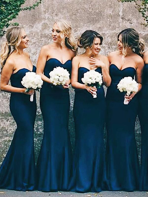 Silk-like Satin Trumpet/Mermaid Sweetheart Floor-length Bridesmaid Dresses #JCD01013648