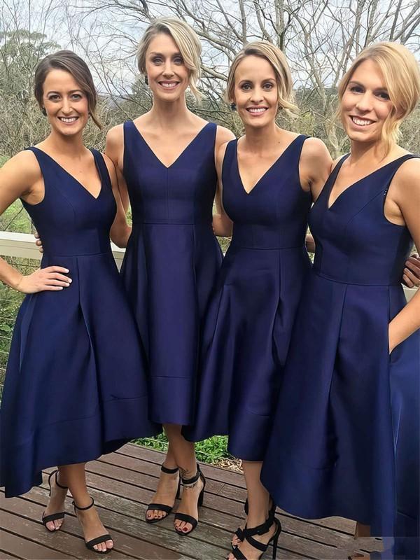 Satin Princess V-neck Tea-length Pockets Bridesmaid Dresses #JCD01013652