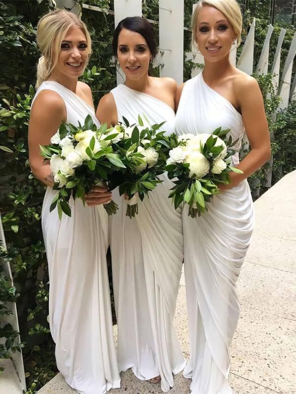 Chiffon Sheath/Column One Shoulder Floor-length Ruffles Bridesmaid Dresses #JCD01013654