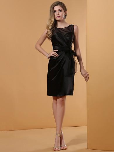 Short/Mini Black Sheath/Column Elastic Woven Satin Designer Prom Dress #JCD02042226