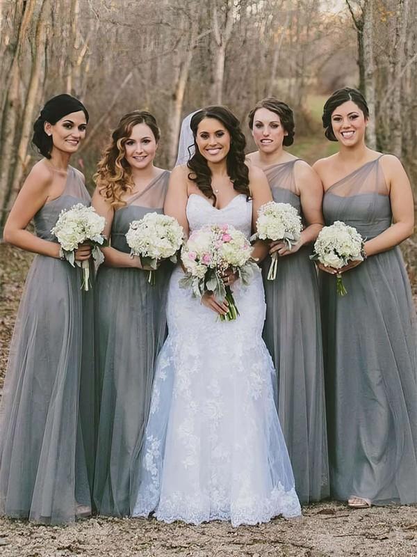 Tulle A-line One Shoulder Floor-length Bridesmaid Dresses #JCD01013660