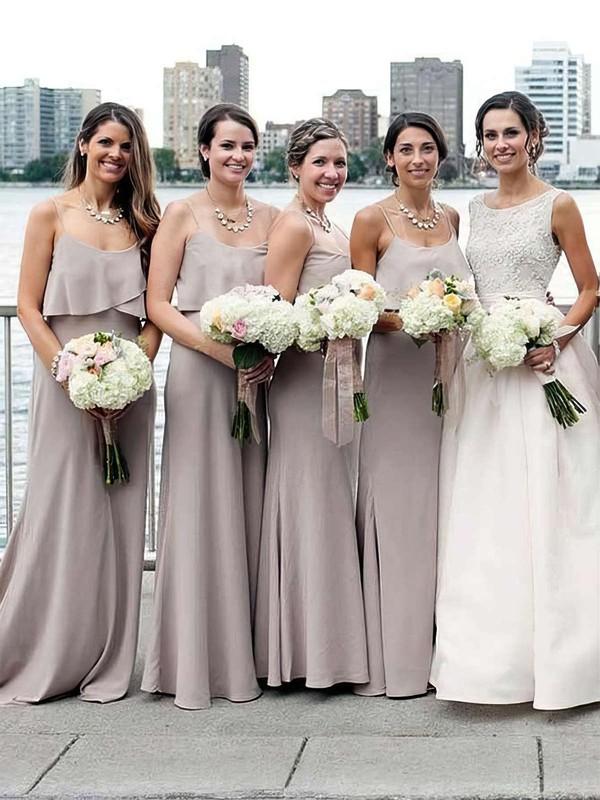 Chiffon A-line Scoop Neck Sweep Train Ruffles Bridesmaid Dresses #JCD01013661