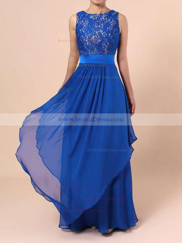 Scoop Neck Lace Chiffon Floor-length Sashes / Ribbons Royal Blue Bridesmaid Dresses #JCD010020101628