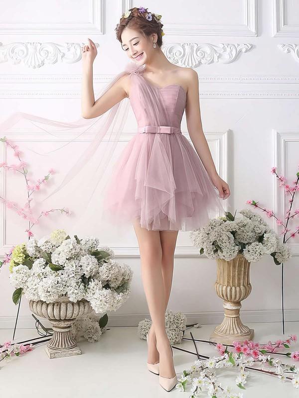Princess One Shoulder Tulle Short/Mini Sashes / Ribbons Fashion Bridesmaid Dresses #JCD010020102533