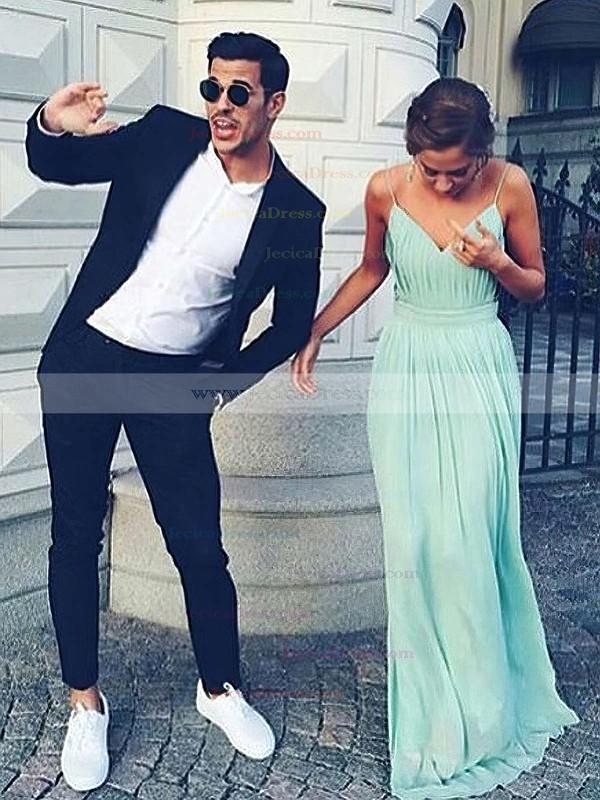 Unique A-line V-neck Chiffon Floor-length Ruffles Backless Bridesmaid Dresses #JCD010020102734