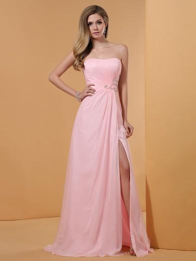 Affordable Pink Chiffon Sheath/Column Split Front Strapless Prom dresses #JCD02023194