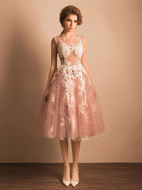 Ball Gown Scoop Neck Tulle Tea-length Appliques Lace Boutique Bridesmaid Dresses #JCD010020103045