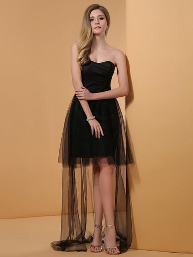 Black Tulle Asymmetrical Ruffles Sweetheart High Low Discount Prom Dress #JCD02042227