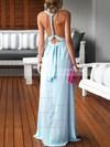 Sheath/Column V-neck Chiffon Floor-length Ruffles Blue Backless Sexy Bridesmaid Dresses #JCD010020103552
