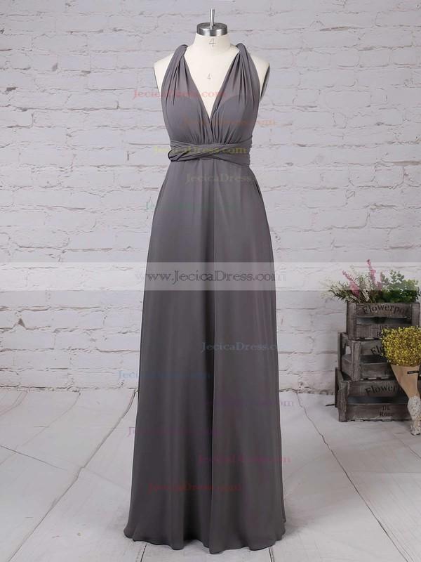 A-line V-neck Chiffon with Ruffles Floor-length Backless Informal Bridesmaid Dresses #JCD010020103579
