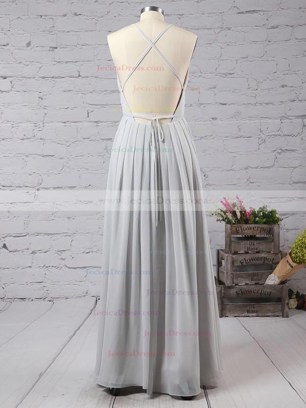 Sheath/Column V-neck Chiffon Floor-length Split Front Backless Hot Bridesmaid Dresses #JCD010020103583