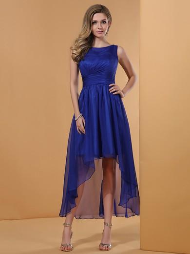 Royal Blue Interesting Asymmetrical Scoop Neck Chiffon High Low Prom Dress #JCD02042228