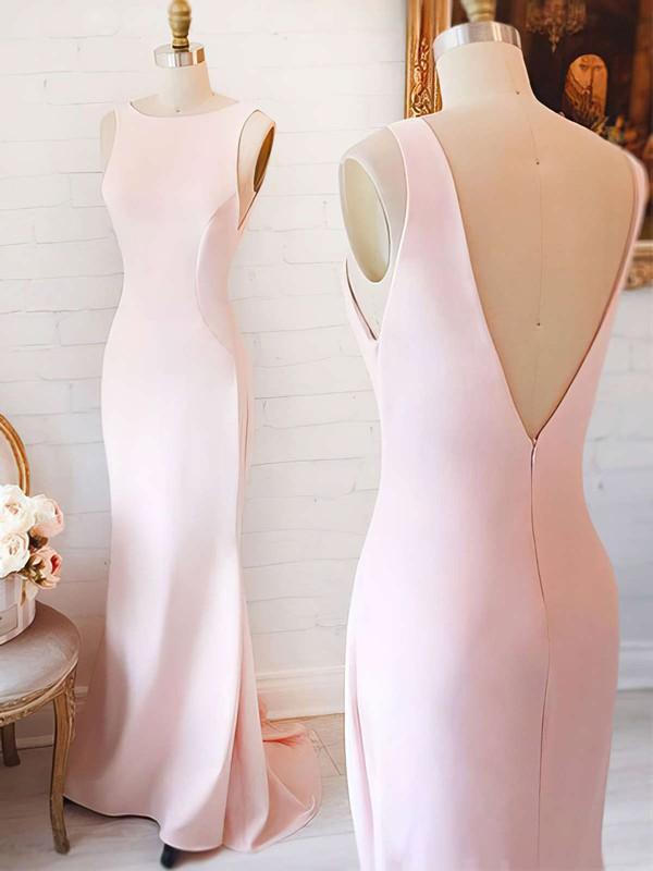 Sheath/Column Scoop Neck Silk-like Satin Sweep Train with Ruffles Bridesmaid Dresses #JCD010020104408