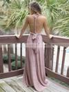 A-line V-neck Satin Chiffon Sweep Train Sashes / Ribbons Bridesmaid Dresses #JCD010020105349