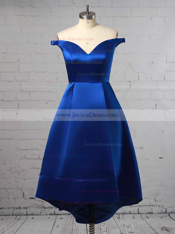 A-line Off-the-shoulder Satin Asymmetrical Pockets Bridesmaid Dresses #JCD010020105378